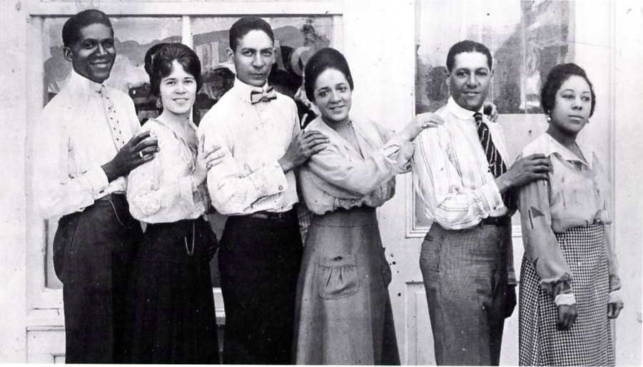 "From left to right, ""Common Sence"" Ross, Albertine Pickins, Ferd ""Jelly Roll"" Morton, Ada ""Bricktop"" Smith, Eddie Rucker, Mabel Watts."